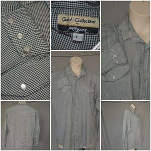 Gold Collection pearl snap checked western shirt L